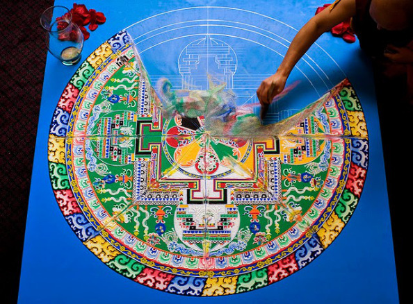 Ceremonia de disolución de Mandala realizado por monjes tibetanos del Monasterio Sera. Superar las pérdidas y aceptar el cambio.